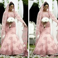 Wholesale Veil For Silver Wedding Dress - 2018 Elegant African Muslim Pink Mermaid Wedding Dresses Long Sleeve Sheer Jewel Neck Bridal Gown For Fall Winter Wedding With Free Veils