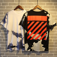Wholesale Striped Plus Size Tee Shirts - 2017 Wholesale off tee white clothing Men's T-Shirts Splash-ink graffit painting hip hop clothing mens designer shirts plus size black white