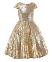 vestidos infantis ouro pageant venda por atacado-2017 lantejoulas de ouro meninas flor dress bebê infantil criança crianças dress júnior do assoalho-comprimento para o casamento meninas vestido de natal pageant tule vestido