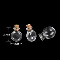 Wholesale Bottle Cork Art - Mini Oblate Glass Bottles Pendants Small Wishing Bottles With Cork Arts Jars For Necklace Pendants 100pcs lot Free shipping