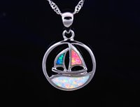 Wholesale Mexican Fire Opal Necklace - Wholesale & Retail Fashion Jewelry Fine Multi Fire Opal Sailboat Stone Sliver Pendants and Necklace For Women PJ17082718
