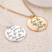 Wholesale Love Life Live - Fashion Letter Pendants Necklaces For Women Circle Tags Live the Life You Learn From Yesterday Love Gift For Women Widding Jewelry Pendant