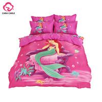 Wholesale Housse Couette 3d - Wholesale-CARA CARLE Cartoon Mermaid Stitch Bedding Set 4pcs Duvet Cover Bed Sheet Children Kids Comforter Bedding Sets housse de couette
