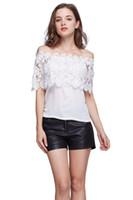 Wholesale Plus Size Blouses Wholesale - Plus Size S-XXL Blusas Summer Style Women Sexy Tops Casual Off Shoulder Blouse Chiffon Lace Floral Blouse Solid Shirts
