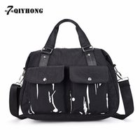 Women spray paint polyester - 2017 New Handbags Small Square Bag Personality Washed Cloth Spray Paint Splash Paint Shoulder Messenger Bag QIYHONG Brand