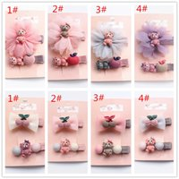 Wholesale Girls Cherry Top - 16pcs lot Floral Shape Kids Hairpins Cartoon Resin Bear Animals Hair Clips Top Quality Girls 8Sets Hair Cherry Bows Apple Hair