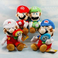 "Wholesale Mario Flower - Hot New 4 Styles 7"" 18CM Super Mario Bros Stuffed Doll Mario Luigi With Flower Mushroom Dolls Pendants For Kid's Gifts Soft Plush Toys"