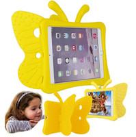 silikon ışıklar toptan satış-3D Karikatür Kelebek Çocuklar Hafif Silikon Hibrid Köpük Darbeye Yumuşak Standı Kauçuk Kılıflar EVA Tote Tutucu Ipad Mini 1/2/3