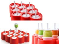 Wholesale Silicone Cone - Magic Kitchen Fashion Silicone Mini Pop Molds nine squares Ice-cream mold Summer Style for children kids cooking tools