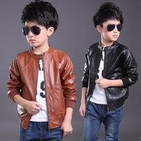 Wholesale Kids Leather Motorcycle Jacket - children PU leather motorcycle jacket kids outwear children cool coat baby boy clothes Leather jackets zipper boys PU jackets kids