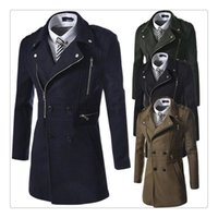 Wholesale Worsted Wool Coat Double Breasted - Brand Winter Coat Autumn Winter Fashion Lapel Mens Casual Long Woolen Windbreaker Coats US Size:XS-L
