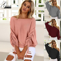 Wholesale strapless sweaters - Autumn winter Ruffle Knitted Sweater Female Casual Loose Shoulder Strapless Solid Style Tops Sweaters Sweater shirts Free Shipping