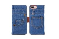 Wholesale blue jean wallet - Fashion Jean Cloth Cowboy Wallet Leather For Iphone 7 6 7 Plus 6S Plus Retro Case Card Slot Stand Flip Cover Skin Pouches Holder Card Luxury