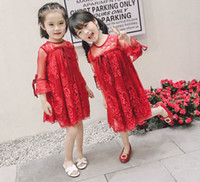 Wholesale Laced Quarter Sleeve Dresses - Retail 2017 Summer New Girl Dress Three Quarter Sleeve Embroidery Lace Flower Princess Dress Children Clothing 2-7Y 17218