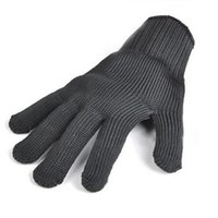 Gants de travail pour homme Prix-Wholesale- Fashion Men Noir Acier inoxydable Wire Safety Works Anti-Slash Cut Resistance Gloves