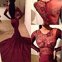 Wholesale See Through Chiffon Tops - 2017 Sexy See Through Long Sleeves Mermaid Burgundy Prom Dress Embroidery Top Court Train Evening Gowns Graduation Party Dress