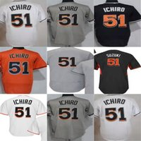 Wholesale Outlet Patch - 2017 Factory Outlet Miami All Star Patch 51 Suzuki Ichiro Adult Women Youth Cool Flex Base Stitched Orange Black White Baseball Jerseys