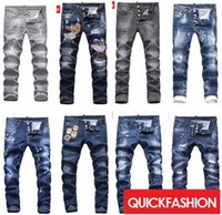 Wholesale Embroidery Trousers - High quality fashion New Style Brand DSQ Men's Denim Jean Embroidery Tiger DSQ2 Pants Holes D2 Jeans Zipper Men Pants Trousers