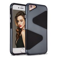Wholesale S Shape Phone Cases - S Shape Hybrid Defender Armor Cases For Iphone 7 7 plus Plastic TPU 100% Fitted Cell Phone Case Cover