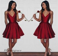 Wholesale Pear Ruby - 2017 Newest Cheap Short Ruby Homecoming Dress Vintage A Line Ruffles Juniors Sweet 15 Graduation Cocktail Party Dress Plus Size Custom Made