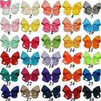 Wholesale clip hairbow online - Hot Sale Inch Boutique Hair Bow Baby Girls Grosgrain Ribbon HairBow with Clips ZH30