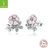 BAMOER 100% 925 Sterling Silver Poetic Daisy Cherry Blooms Flores Stud Earrings para mulheres Drip Paint Clear Zircon Girls 'Elegant Elegant Earrings