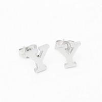 ingrosso y fascini-Lettere Orecchini in acciaio inox J Y S lettera maiuscola alfabeto orecchino 10 paia / set donne fascino gioielli regalo all'ingrosso