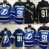 Wholesale order hoodies - Hot Sale Mens Tampa Bay Lightning 91 Steven Stamkos Blue Black Embroidery Logos Ice Hockey Hoodies Sweatshirts Accept Mix Orders Size S-3XL