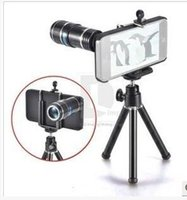 Wholesale External Lens - 12x telephoto mobile phone telescope 12X external lens with mobile phone tripod tripod for iphone 5 5s 6 7