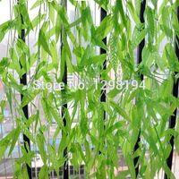 ingrosso piante del cortile-50pcs foglie verdi artificiali viti pianta finta edera simulazione rattan 1.8 m cortile decorazione della festa nuziale decorazioni per la casa fai da te