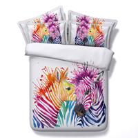 roupa de cama impressa zebra venda por atacado-Animal Impresso Conjuntos de Cama 3D Zebra Colorida 4 pcs Conjuntos de Consolador Rainha King Size Capa de Edredão Fronhas Folha de Cama