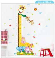 Wholesale Vinyl Ruler - Kids Height Chart Wall Sticker Home Decor Cartoon Giraffe Height Ruler Home Decoration room Decals Cartoon Wall Art Sticker