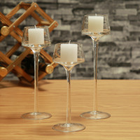 Wholesale Religious Glass Candles - Crystal Candle Holder Set Glass Decorative Wedding Candles Candleholder Wedding Home Bar Party Decoration Ornaments Candlestick