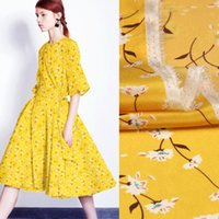 Wholesale Crepe Silk Fabric For Dresses - 135CM Wide 12MM Floral Print Bright Yellow Silk Crepe de Chine Fabric for Summer Blouse Dress Shirt Clothes D818