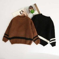 Wholesale Wool Childrens Clothes - Kids Girls Knit Striped Pullover Baby Girls Fashion Knitting Jumper Sweaters Babies Autumn Clothing 2017 childrens clothes