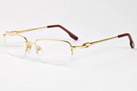 Wholesale Titanium Glass Frames Ladies - Men Women Fashion rimless gold Silver Frame Sunglasses Ladies luxury eyewear glasses Clear Lens With Case Cloth