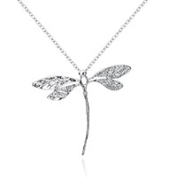 Collier pendentif en argent plaqué or Cute Dragonfly Charms Long Rolo Silver Chain Fashion Lovely Jewelry for Girls Cadeaux de Noël