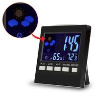 Wholesale Lcd Clock Night Light - Wholesale-Pro LCD Digital Thermometer Hygrometer Indoor Electronic Temperature Humidity Meter Night Lighting +Alarm Clock Prenium Device