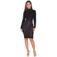 Wholesale White Winter Clubbing Dresses - Black Mesh Sexy Club Wear Women Party Dresses New Arrival Spring Winter 2016 Long Sleeve White Stretchy Bodycon Bandage Dress Vestidos