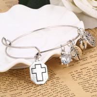 Wholesale Alex Cross - Wholesale- GR Jewelry Wholesale Alex Style Bracelet&Bangle For Women Silver Color Charms Bracelet Femme Rhinestone Cross