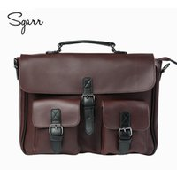 Wholesale Vintage Leather Briefcase Laptop - Wholesale- Crazy Horse PU Leather Men's Briefcase Vintage Men Messenger Bags shoulder bag Men Business Handbags Contract Bags Laptop Bag