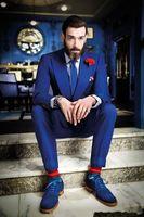 Wholesale custom skinny ties - Wholesale- Custom Made High Quality Royal Blue Groom Tuxedos Slim Fit Shawl Lapel Three Pieces Men Wedding Party Suits ( jacket+Pant+tie)