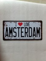 Wholesale car wall posters - I LOVE AMSTERDAM Vintage Metal Plaque Car Number Retro Licence Plate Tin Sign Bar Pub Home Cafe Wall Decor Retro Metal Art Poster