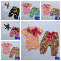 Wholesale Girls Polka Dot Harem Pants - 0-2T Girl 2pcs outfit romper +pant set polka dot flower Striped print Gorgeous set Baby girl Boutique Bodysuit harem pants 10styles