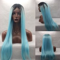 Wholesale Blue Green Baby Hair - Ombre Mint Blue Green Synthetic Lace Front Wig Silky Straight Wigs Glueless Heat Resistant TwoTone baby blue ombre Hair Wig