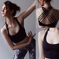 Wholesale New Style Women Outfit - 2017 Spring Summer New style short Vest Yoga wear Sexy Halter movement Weave Casual Sports Fitness T-shirt Camisole Quick dry Yoga Outfits