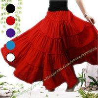 Wholesale Gypsy Boho - 5-layer Stitching Gypsy Bohemian BOHO Full Circle Cotton Maxi Skirt Dancing Spain Pleated Long Skirts for Womens red black white