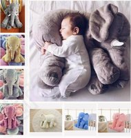 Wholesale Doll Lumbar Pillow - Free Shipping 5 color elephant pillow baby doll children sleep pillow birthday gift INS Lumbar Pillow Long Nose Elephant Doll Soft Plush