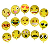 Wholesale Kids Beach Supplies Cartoon - New Arrival Round Cute Emoji Balloon Foil Decoration Balloons Birthday Wedding Decorations Supplies Balloons Kids Adult Beach Outdoor Toys