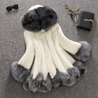 Wholesale Ladies Mink Vests - Top Plus size 3XL Fancy Girl Faux Fox Fur long Coat Pretty Octopus Mink cashmere patchwork outwear Lady snow jacket coats with hooded